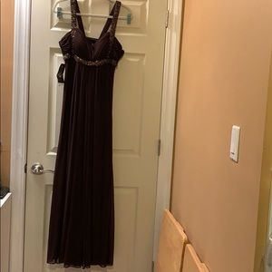 NWT Xscape chocolate brown gown with beading